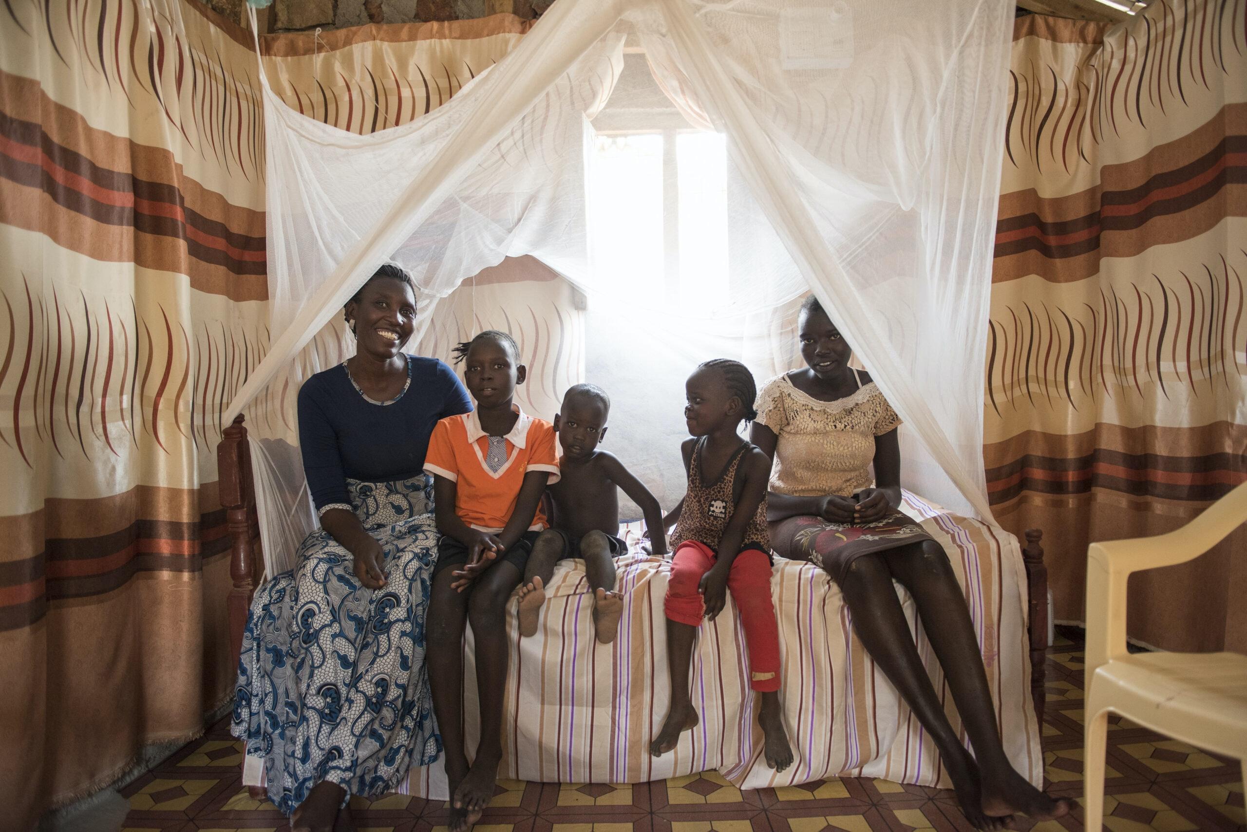 Family under a net
